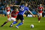 Middlesbrough midfielder Adam Clayton (8) close Sheffield Wednesday defender Tom Lees (15) down during the EFL Sky Bet Championship match between Sheffield Wednesday and Middlesbrough at Hillsborough, Sheffield, England on 19 October 2018.