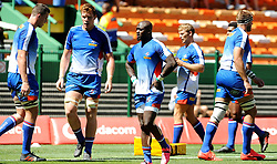 Cape Town-180217 Stomers players JD Schikerling,Cobus Wiese and Raymond Rhule  warming up before their Super 15 rugby game against Jaguares.photograph:Phando Jikelo/African News Agency/ANA