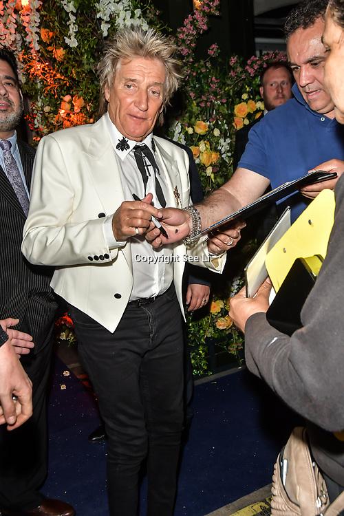 Rod Stewart,Penny Lancaster leaving Tramp Members Club 40 Jermyn Street, on 23 May 2019, London, UK.