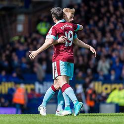 Burnley midfielder Joey Barton (19) and Burnley defender Ben Mee (6) in the Premier League match between Everton and Burnley<br /> (c) John Baguley | SportPix.org.uk