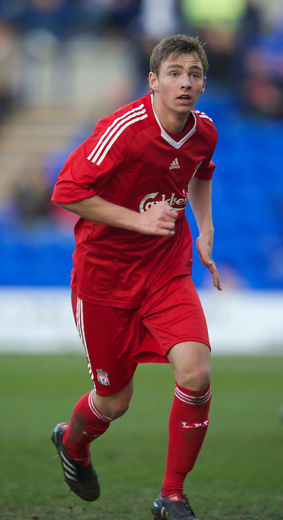 BIRKENHEAD, ENGLAND - Tuesday, April 20, 2010: Liverpool's Nicolaj Kohlert in action against Everton during the FA Premiership Reserves League (Northern Division) match at Prenton Park. (Photo by David Rawcliffe/Propaganda)