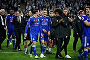 Jamie Vardy leads his team mates in a lap of honour to thank the fans after the Premier League match between Leicester City and Burnley at the King Power Stadium, Leicester, England on 10 November 2018.