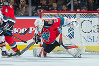 KELOWNA, CANADA - OCTOBER 13: Brodan Salmond #31 of the Kelowna Rockets makes a save against the Calgary Hitmen on October 13, 2017 at Prospera Place in Kelowna, British Columbia, Canada.  (Photo by Marissa Baecker/Shoot the Breeze)  *** Local Caption ***