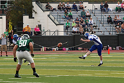 12 October 2013:  john Gieseking kicks off to start the game during an NCAA division 3 football game between the North Park vikings and the Illinois Wesleyan Titans in Tucci Stadium on Wilder Field, Bloomington IL