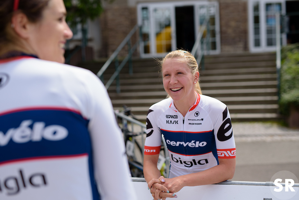 Stephanie Pohl and Joëlle Numainville (Cervélo Bigla) share a joke as they wait for sign in at Thüringen Rundfarht 2016 - Stage 2 a 103km road race starting and finishing in Erfurt, Germany on 16th July 2016.