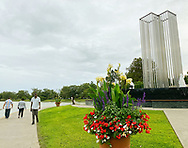 East Meadow, New York, U.S. September 10, 2020. The Nassau County 9/11 Memorial includes a tall metal sculpture representing the Twin Tower, two pieces of beams from the original Twin Towers, and a Survivor Tree. Because of rain prediction, the 19th anniversary of September 11 terrorist attacks with Remembrance and Name Recitation Ceremony was held at Harry Chapin Lakeside Theater across the pond in Eisenhower Park.