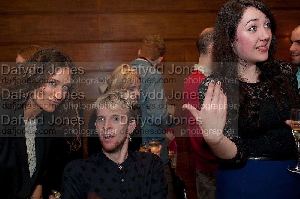 LULU KENNEDY; ; OLIVER HEMSLEY,;KATY DAWE ,  Art Against Knives charity auction , Town Hall Hotel in Bethnal Green, London. 15 December 2011