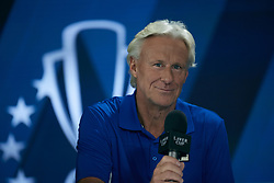 September 20, 2018 - Chicago, Illinois, U.S - Team Europe Coach BJORN BORG  answers questions during a team press conference before the Laver Cup at the United Center in Chicago, Illinois. (Credit Image: © Shelley Lipton/ZUMA Wire)