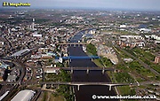 aerial photograph  bridges over the  River Tyne  Newcastle upon Tyne England UK