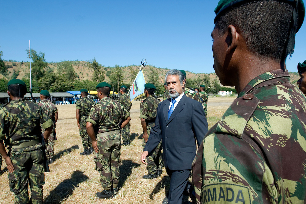 Outgoing President of Timor-Leste, Xanana Gusmao inspects the troops at a parade put on for him by the East Timorese Army.