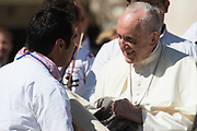VATICAN CITY, ITALY 20 SEPT 2017: Images from the General Audience with Pope Francis in St. Peters Square on Sept. 20, 2017 Pope Francis greets a group of Mexican Pilgrims