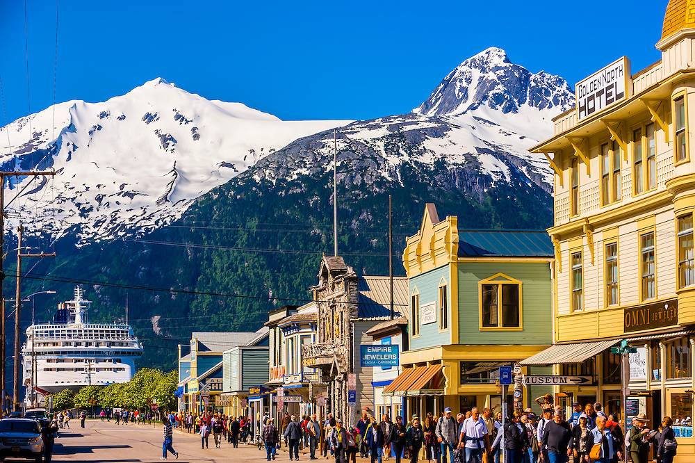 Norwegian Sun cruise ship docked in background, Historic District of Skagway, Alaska USA.