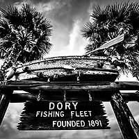 Dory Fishing Fleet Sign Picture in Newport Beach. Dory Fishing Fleet market is located on Balboa Peninsula in Orange County Southern California.