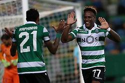 September 20, 2018 - Lisbon, Portugal - Sporting's forward Jovane Cabral from Cabo Verde (R ) celebrates after scoring Sporting's second goal with forward Raphinha from Brazil (L) who scores the first during the UEFA Europa League Group E football match Sporting CP vs Qarabag at Alvalade stadium in Lisbon, on September 20, 2018. (Credit Image: © Pedro Fiuza/NurPhoto/ZUMA Press)