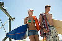 Young couple in swimwear with surfboards half length