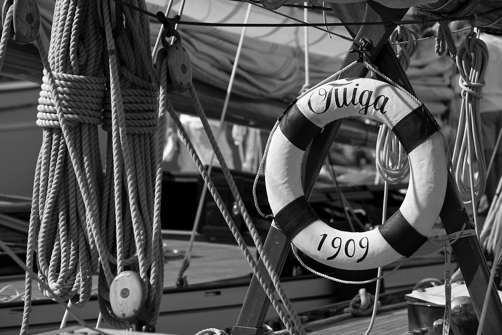 "28SEP09 Les Voiles De St Tropez 2009..The life ring of the yacht classic yacht from 1909, ""Tuiga""."