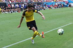July 22, 2018 - Charlotte, NC, U.S. - CHARLOTTE, NC - JULY 22:  Christian Pulisic (22) of Borussia Dortmund takes a shot on goal during the International Champions Cup soccer match between Liverpool FC and Borussia Dortmund in Charlotte, N.C. on July 22, 2018.(Photo by John Byrum/Icon Sportswire) (Credit Image: © John Byrum/Icon SMI via ZUMA Press)
