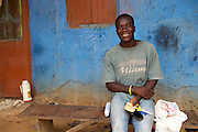Ben, 25, was born and raised in Kromameng, a cocoa farming community in eastern Ghana. Realising he couldn.t rely on cocoa for an income, Ben left the community for Accra where he trained to be a hairdresser. He finished his training last year and is now back at home and trying to save so that he can return to open up a little barbers shop in the capital.