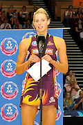 Laura Geitz addresses the crowd at the end of the match ~ Netball action from ANZ Championship Grand Final - Queensland Firebirds v Northern Mystics - played at the Brisbane Convention Centre on Sunday 22nd May 2011 ~ Photo : Steven Hight (AURA Images) / Photosport