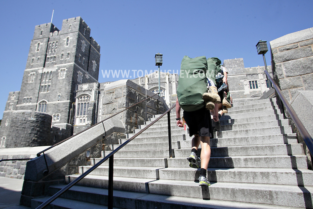 New cadets march from Thayer Hall to the next part of R-Day at the U.S. Military Academy at West Point on Monday, July 2, 2012.