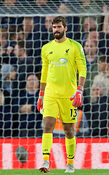 LIVERPOOL, ENGLAND - Sunday, October 7, 2018: Liverpool's goalkeeper Alisson Becker after the FA Premier League match between Liverpool FC and Manchester City FC at Anfield. (Pic by David Rawcliffe/Propaganda)