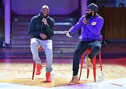 Former NBA star Kobe Bryant and Ronny Turiaf, his French team-mate for three seasons (2005-2008) in Los Angeles gives a 'Mamba talk' as they reflect on their NBA memories at 'Le Quartier' renovated gymnasium dedicated to basketball games and culture on October 21, 2017 in Paris, France. The promotional event was organized by the sports brand Nike, for the inauguration of the infrastructure improvements of a local basketball playground at the Jean-Jaures sports hall Le Quartier. Photo by Laurent Zabulon/ABACAPRESS.COM