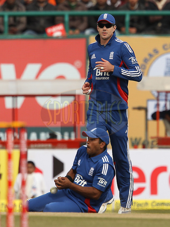Samit Patel of England drops the catch as Kevin Pietersen of England looks on during the 5th Airtel ODI between India and England held at the HPCA Stadium in Dharamsala, Himachal Pradesh, India on the 27th January 2013..Photo by Ron Gaunt/BCCI/SPORTZPICS ..Use of this image is subject to the terms and conditions as outlined by the BCCI. These terms can be found by following this link:..http://www.sportzpics.co.za/image/I0000SoRagM2cIEc
