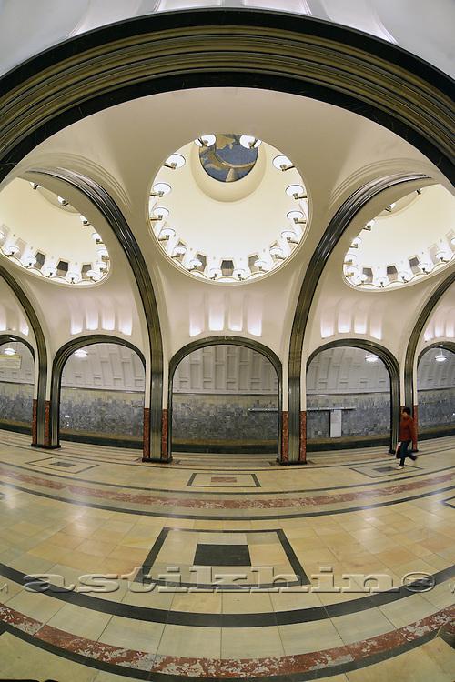 Mayakovskaya station in Moscow Metro. Russia.