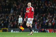 Wayne Rooney of Manchester United can't believe his goal is offside during the Barclays Premier League match between Manchester United and Stoke City at Old Trafford, Manchester, England on 2 February 2016. Photo by Phil Duncan.