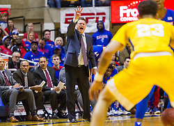 Jan 24, 2017; Morgantown, WV, USA; Kansas Jayhawks head coach Bill Self calls out a play from the bench during the first half against the West Virginia Mountaineers at WVU Coliseum. Mandatory Credit: Ben Queen-USA TODAY Sports