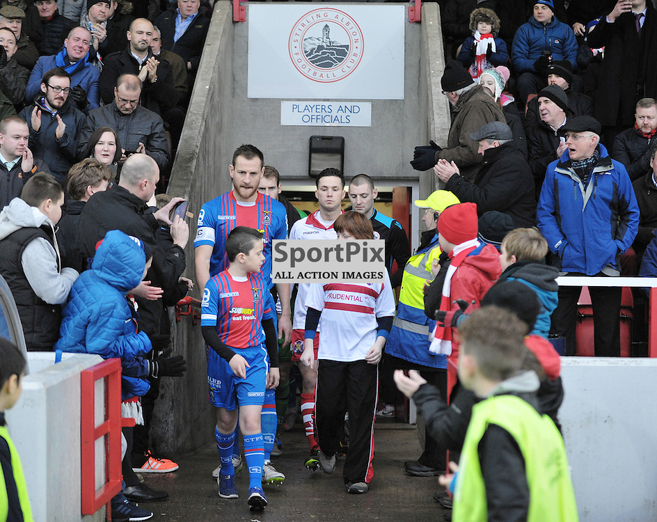 The teams emerge before the game<br /> <br /> Stirling Albion v Inverness Caledonian Thistle, Scottish Cup, Saturday 9th January 2016<br /> <br /> (c) Alex Todd | SportPix.org.uk