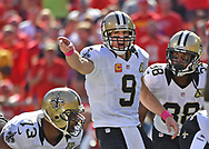 KANSAS CITY, MO - OCTOBER 23:  Quarterback Drew Brees #9 of the New Orleans Saints points out instructions against the Kansas City Chiefs during the second half on October 23, 2016 at Arrowhead Stadium in Kansas City, Missouri.  (Photo by Peter G. Aiken/Getty Images) *** Local Caption *** Drew Brees