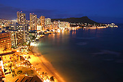 Waikiki at night, Oahu, Hawaii<br />