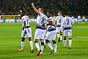 Tottenham Hotspur forward Harry Kane (10) scores a goal looks to the fans and celebrates 0-1 during the Champions League round of 16, leg 2 of 2 match between Borussia Dortmund and Tottenham Hotspur at Signal Iduna Park, Dortmund, Germany on 5 March 2019.