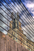 A reflection of the Times Square Building in Rochester, New York.