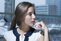 Close-up of businesswoman looking off camera
