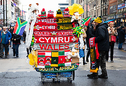 A flag vendor outside of the stadium<br /> <br /> Photographer Simon King/Replay Images<br /> <br /> Under Armour Series - Wales v South Africa - Saturday 24th November 2018 - Principality Stadium - Cardiff<br /> <br /> World Copyright © Replay Images . All rights reserved. info@replayimages.co.uk - http://replayimages.co.uk