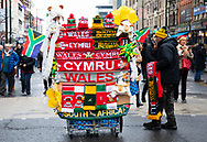 A flag vendor outside of the stadium<br /> <br /> Photographer Simon King/Replay Images<br /> <br /> Under Armour Series - Wales v South Africa - Saturday 24th November 2018 - Principality Stadium - Cardiff<br /> <br /> World Copyright &copy; Replay Images . All rights reserved. info@replayimages.co.uk - http://replayimages.co.uk