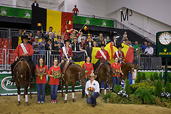 Team BEL, Piet Mestdagh, Ann Poels, Cira Baeck, Bernard Fonck with their supporters - Team Competition and 1st individual qualifying  - Alltech FEI World Equestrian Games™ 2014 - Normandy, France.<br /> © Hippo Foto Team - Dirk Caremans<br /> 25/06/14
