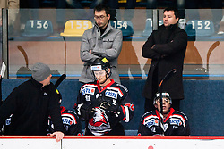 Petr Stoukal, head coach of Znojmo Orli, and Petr Kucirek, assistant coach, during ice-hockey match between HC Orli Znojmo and HDD Tilia Olimpija in 16th Round of EBEL league, on October 28, 2011 at Zimni stadion, Znojmo, Czech Republic. (Photo By Matic Klansek Velej / Sportida)