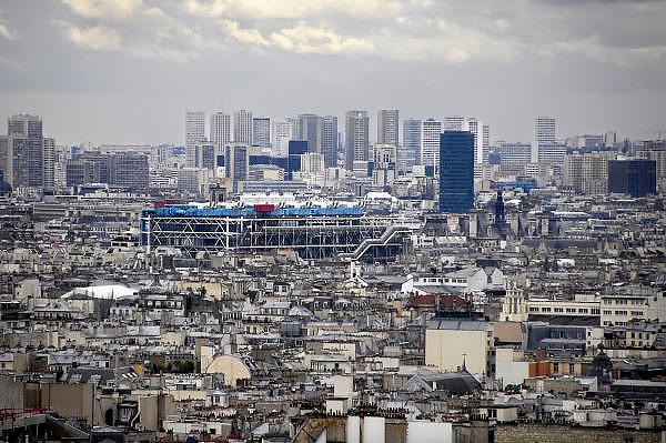 Frankrijk, Parijs, 28-3-2010Panorama van een deel van Parijs. Herkenbaar is het centre Pompidou.  Exterieur.Foto: Flip Franssen/Hollandse Hoogte