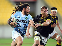 Northland's Rene Ranger, left, runs around Wellington's Brad Shields in the Mitre 10 Semi Final Rugby match at Westpac Stadium, Wellington, New Zealand, Friday, October 20, 2017. Credit:SNPA / Ross Setford  **NO ARCHIVING**