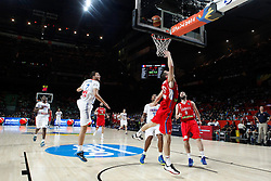 12.09.2014, City Arena, Madrid, ESP, FIBA WM, Frankreich vs Serbien, Halbfinale, im Bild France´s Lauvergne and Diaw and Serbia´s Kalinic and Markovic // during FIBA Basketball World Cup Spain 2014 semifinal match between France and Serbia at the City Arena in Madrid, Spain on 2014/09/12. EXPA Pictures © 2014, PhotoCredit: EXPA/ Alterphotos/ Victor Blanco<br /> <br /> *****ATTENTION - OUT of ESP, SUI*****