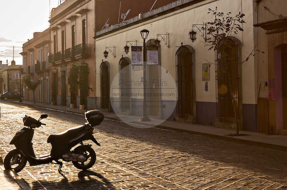 Early morning residential street in the historic district October 30, 2013 in Oaxaca, Mexico.