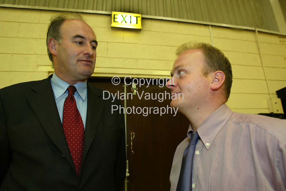 18/5/2002.Fine Gael's candidates Phil Hogan (left) and Fergal Brown pictured yesterday at the Carlow Kilkenny count in the community centre in Thomastown County kilkenny..Picture Dylan Vaughan