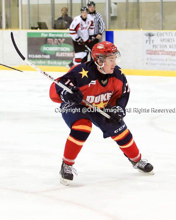 WELLINGTON, ON - Oct 9, 2015 : Ontario Junior Hockey League game action between Stouffville and Wellington , Colin Doyle #17 of the Wellington Dukes during the first period<br /> (Photo by Ed McPherson / OJHL Images)