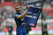 AFC Wimbledon striker Andy Barcham (17) celebrates promotion to Sky Bet League 1 at the end of the Sky Bet League 2 play off final match between AFC Wimbledon and Plymouth Argyle at Wembley Stadium, London, England on 30 May 2016.