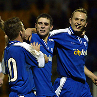 St Johnstone v Alloa..  28.12.02<br />Ross Forsyth celebrates his goal with Keigan Parker and Tommy Lovenkrands<br /><br />Pic by Graeme Hart<br />Copyright Perthshire Picture Agency<br />Tel: 01738 623350 / 07990 594431