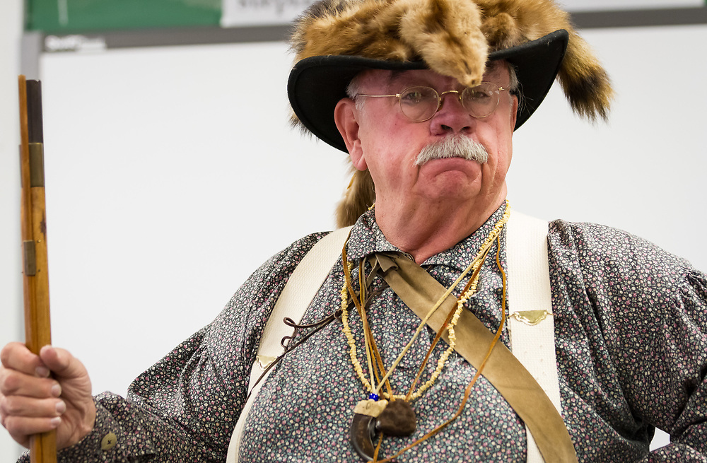 """""""Bear Claw,"""" aka Don Moon, portrays and explains the life of an 18th Century mountain man to students at Custer County Schools."""