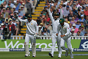 Pakistan appeal successfully for LBW assist Alistair Cook of England (not shown) during the International Test Series 2016 match between England and Pakistan at Edgbaston, Birmingham, United Kingdom on 3 August 2016. Photo by Simon Trafford.
